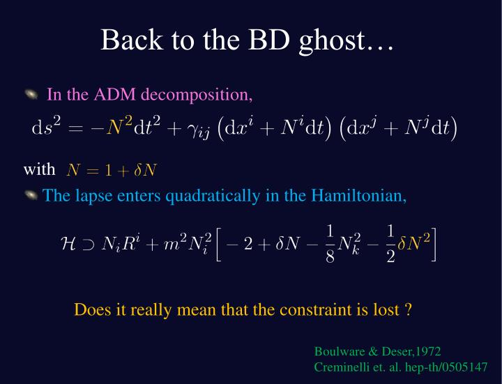 Back to the BD ghost…