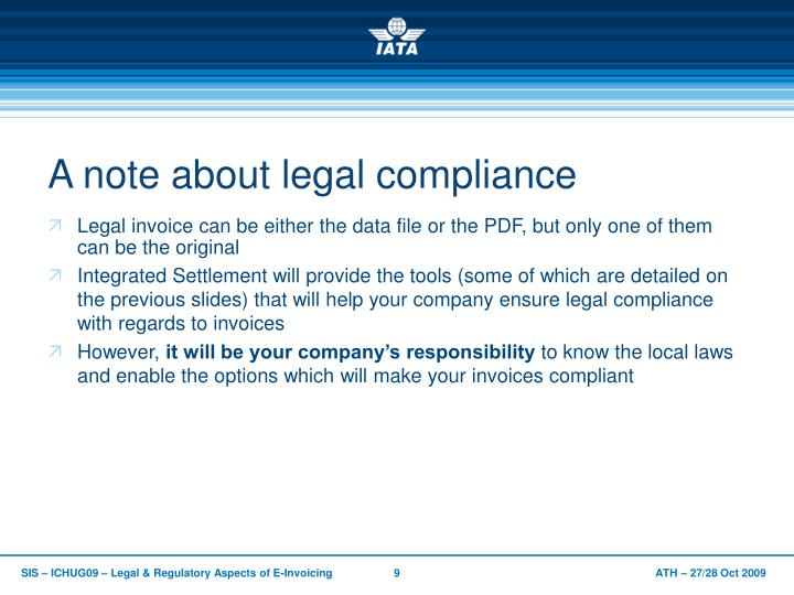 A note about legal compliance