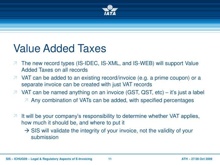 Value Added Taxes