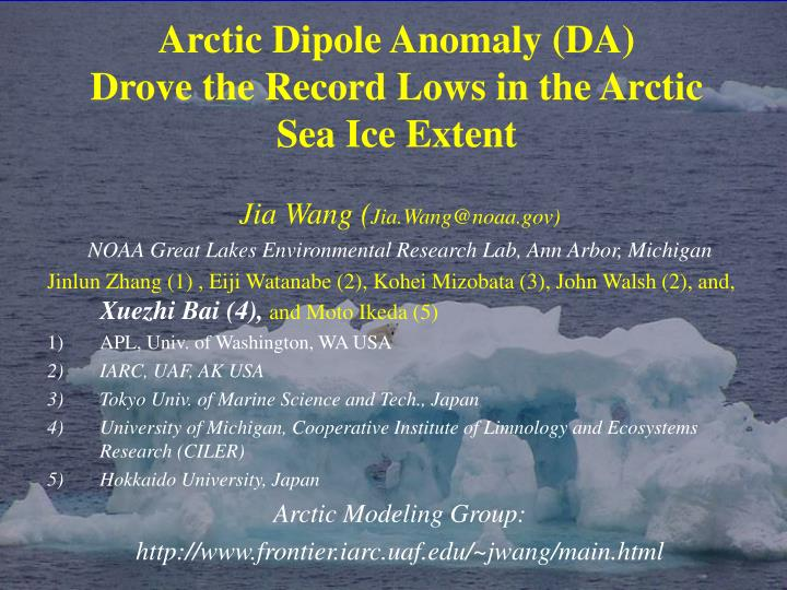 arctic dipole anomaly da drove the record lows in the arctic sea ice extent