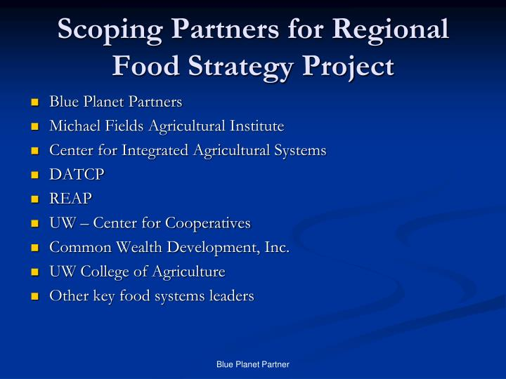 Scoping partners for regional food strategy project