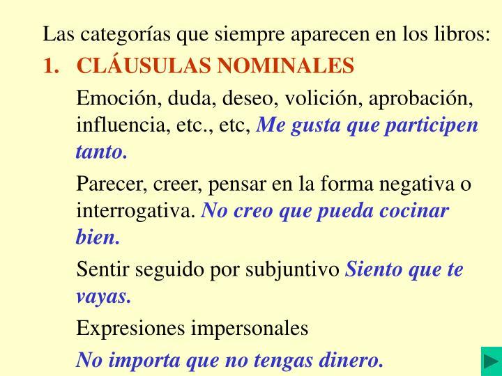 Las categorías que siempre aparecen en los libros: