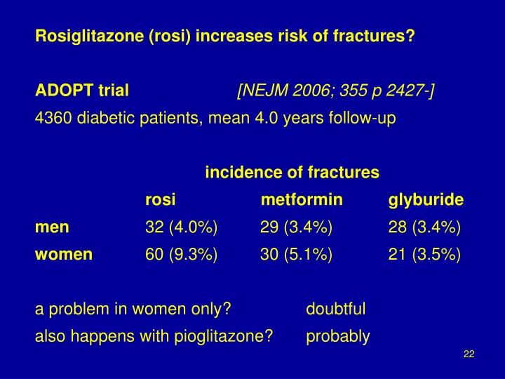 Rosiglitazone (rosi) increases risk of fractures?