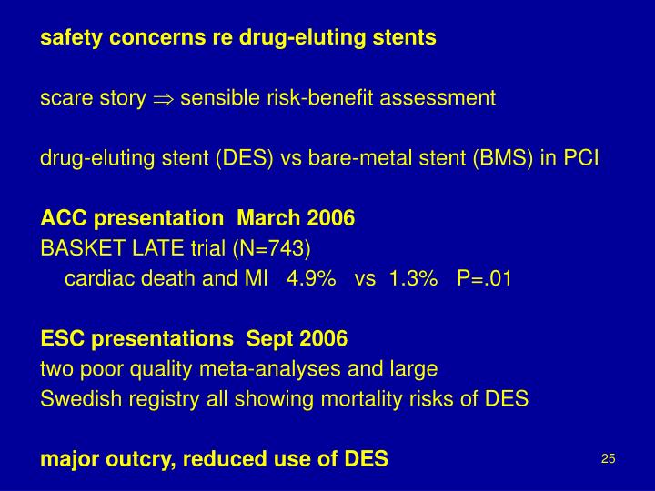 safety concerns re drug-eluting stents