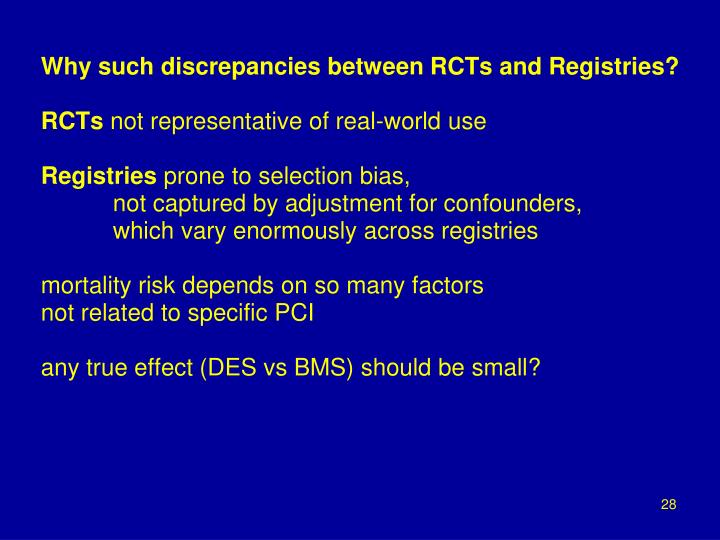 Why such discrepancies between RCTs and Registries?