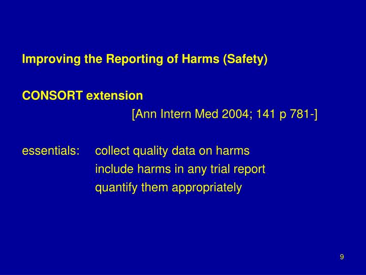 Improving the Reporting of Harms (Safety)