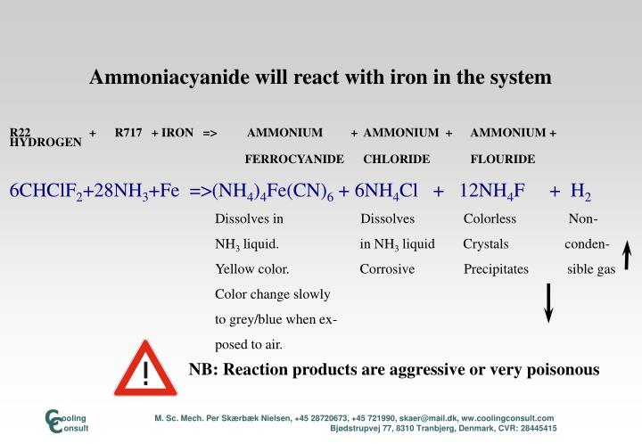 NB: Reaction products are aggressive or very poisonous
