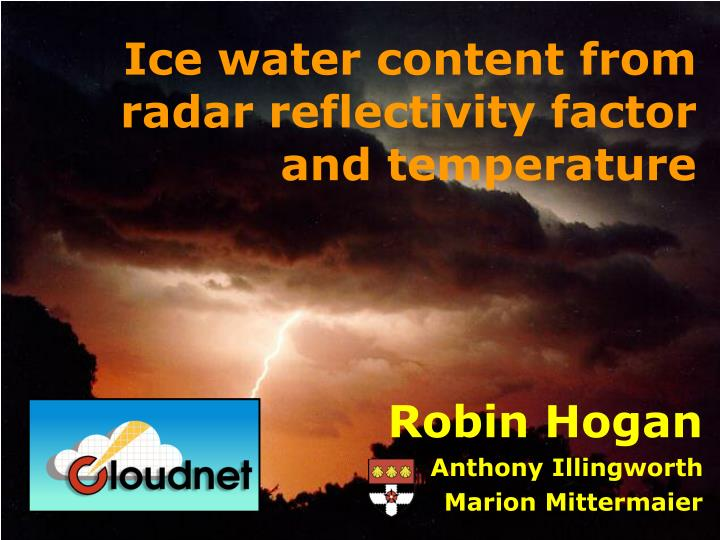ice water content from radar reflectivity factor and temperature n.