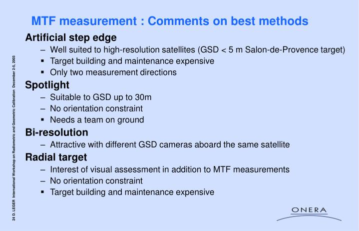 MTF measurement : Comments on best methods
