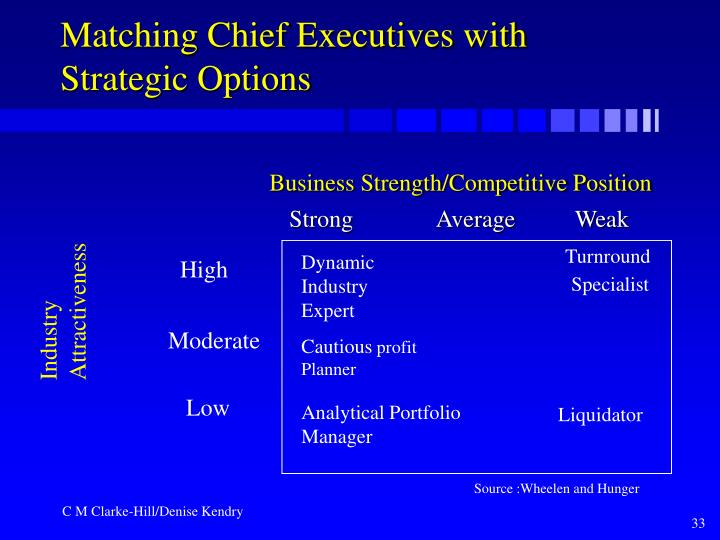Matching Chief Executives with Strategic Options