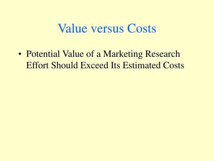 Value versus Costs