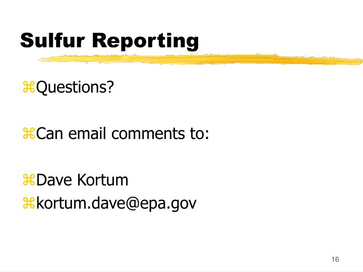 Sulfur Reporting