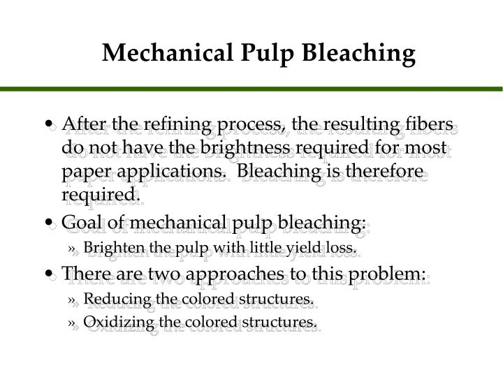 Mechanical pulp bleaching