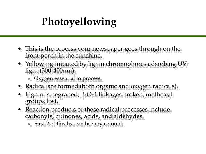 Photoyellowing