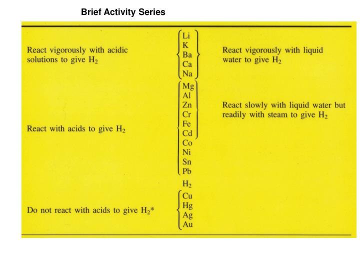 Brief Activity Series