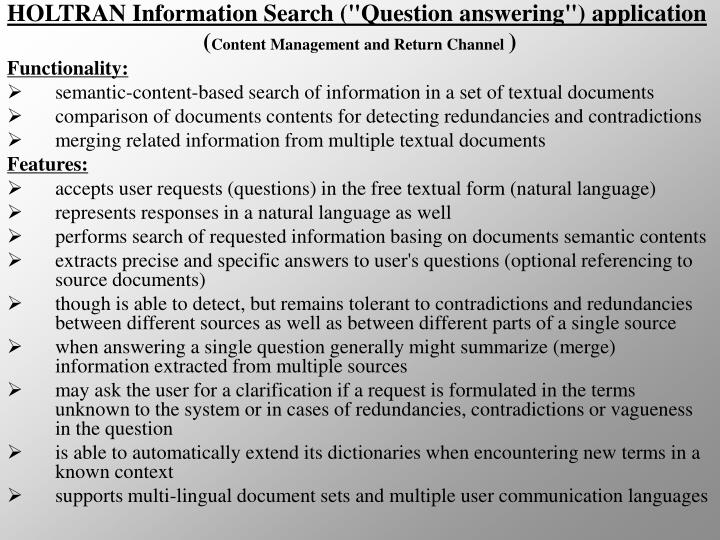 """HOLTRAN Information Search (""""Question answering"""") application"""
