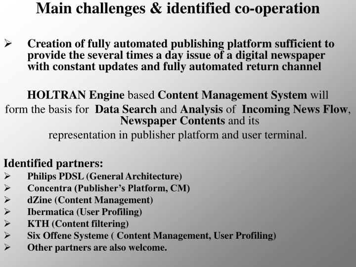Main challenges & identified co-operation