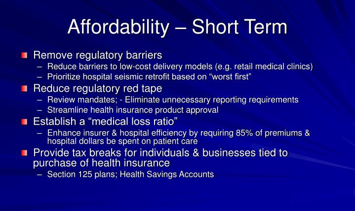 Affordability – Short Term