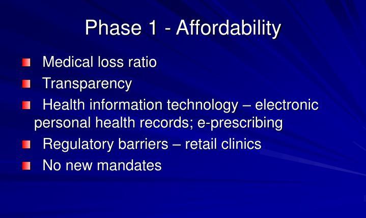 Phase 1 - Affordability