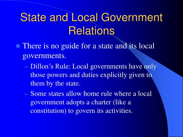 State and Local Government Relations
