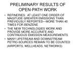 preliminary results of open path work
