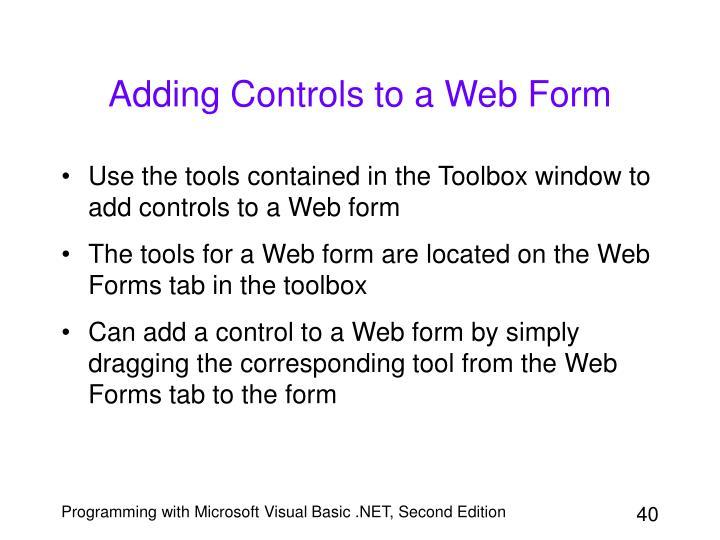 Adding Controls to a Web Form