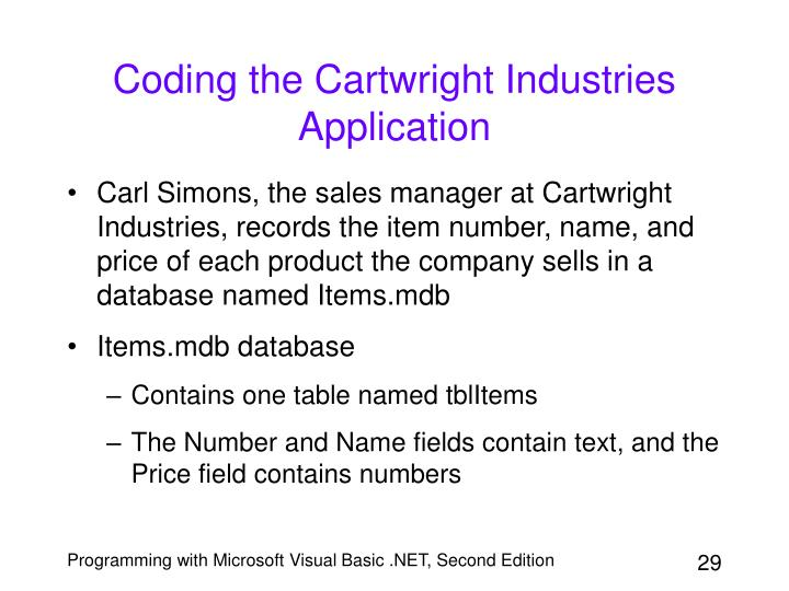 Coding the Cartwright Industries Application