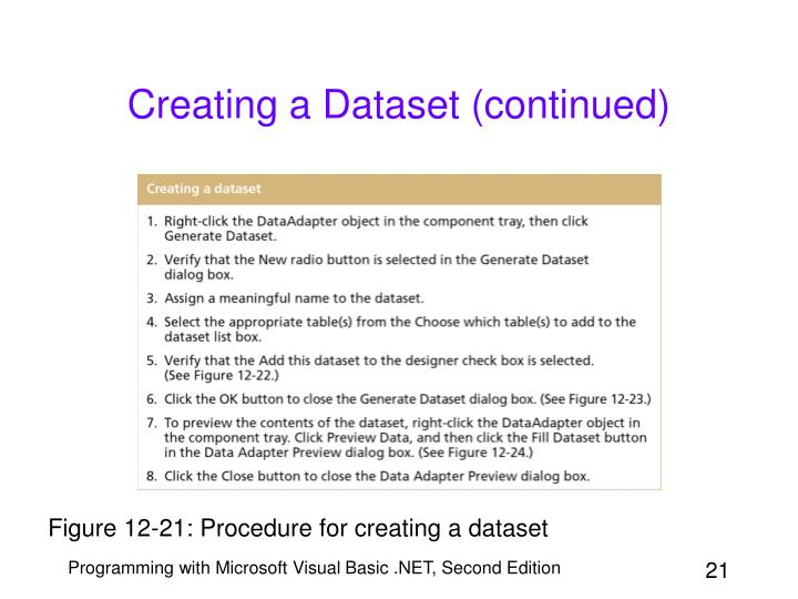 Creating a Dataset (continued)
