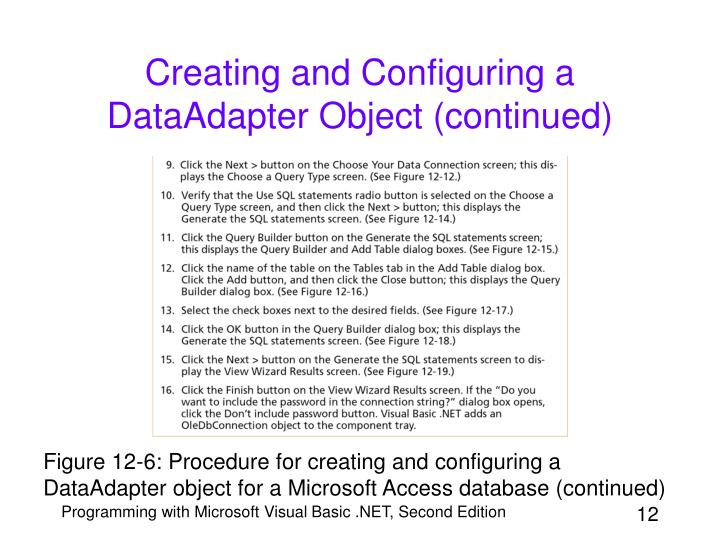 Creating and Configuring a DataAdapter Object (continued)