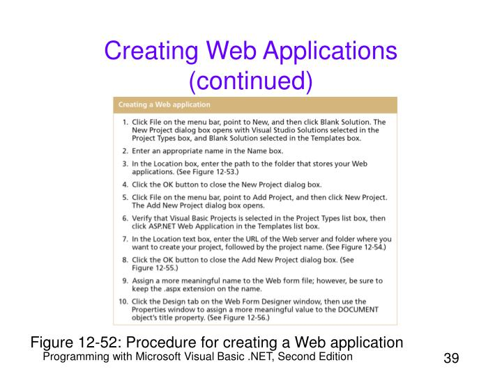 Creating Web Applications (continued)