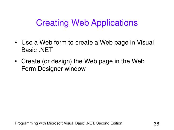 Creating Web Applications
