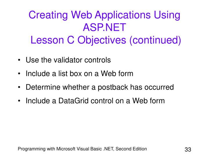 Creating Web Applications Using ASP.NET