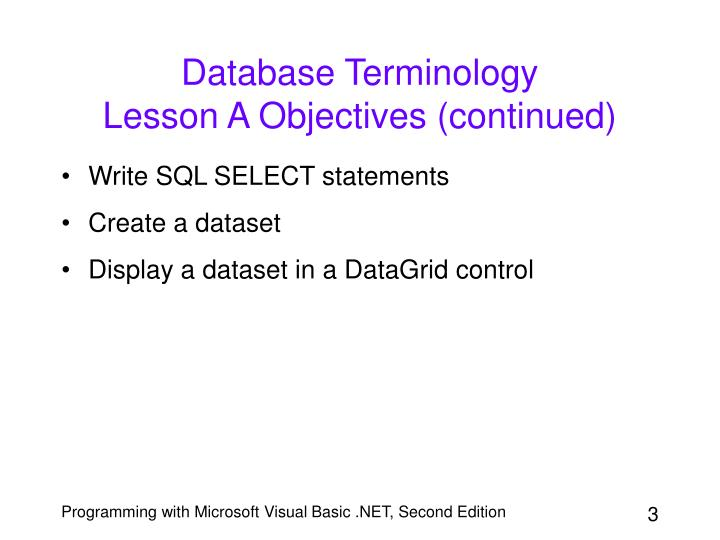 Database terminology lesson a objectives continued