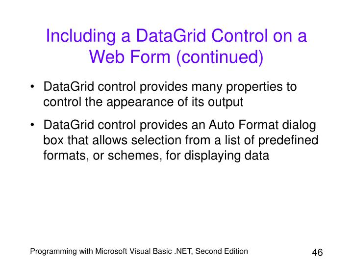 Including a DataGrid Control on a Web Form (continued)