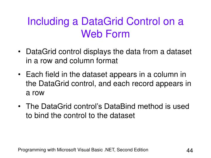 Including a DataGrid Control on a Web Form