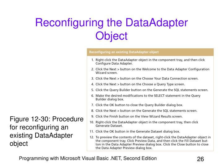 Reconfiguring the DataAdapter Object