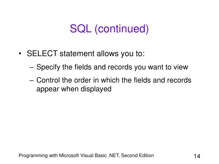 SQL (continued)