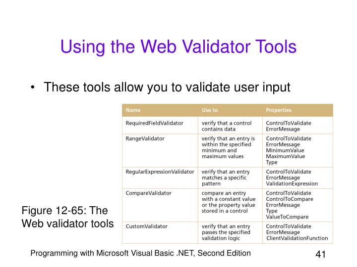 Using the Web Validator Tools