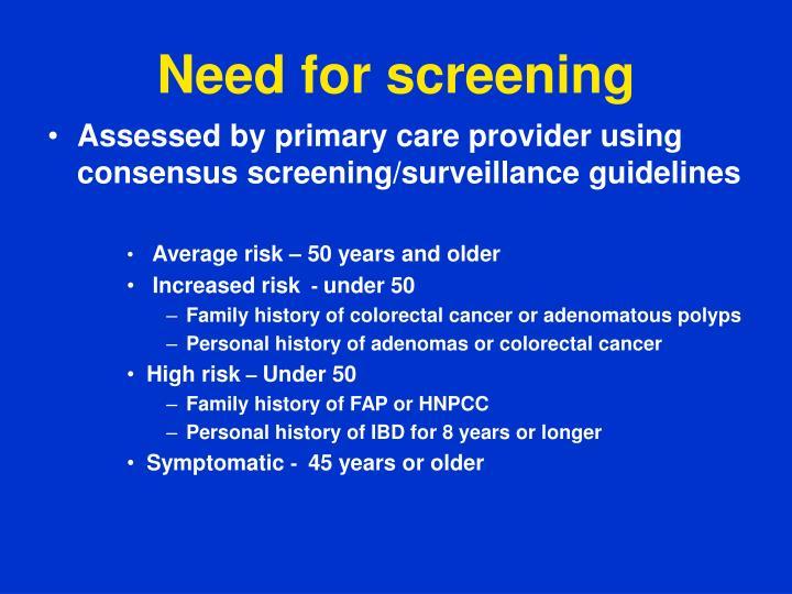 Need for screening