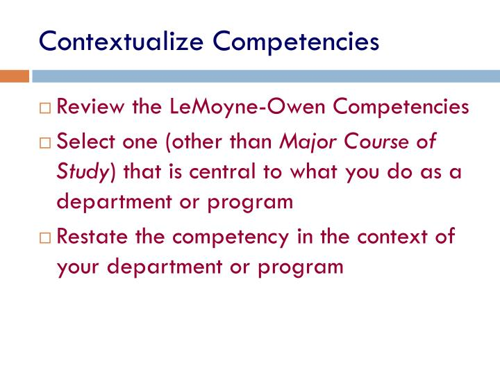 Contextualize Competencies