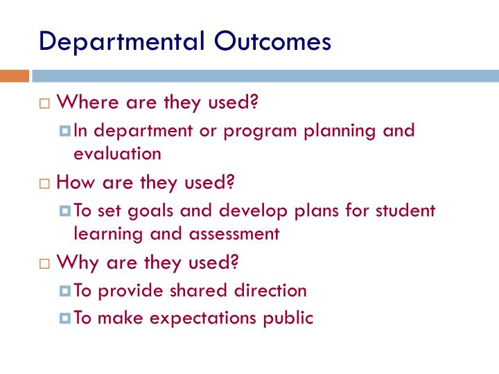 Departmental Outcomes