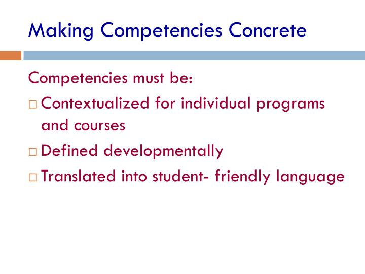 Making Competencies Concrete