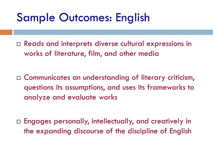 Sample Outcomes: English