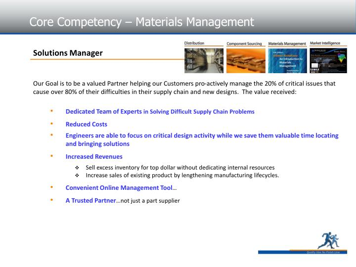 Core Competency – Materials Management