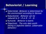 behaviorist learning