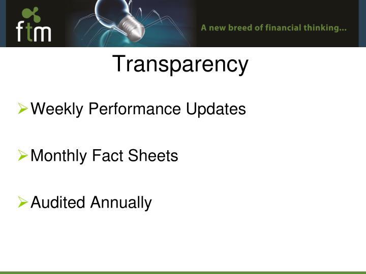 Weekly Performance Updates