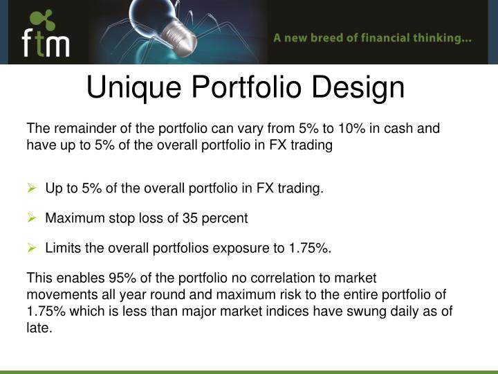 The remainder of the portfolio can vary from 5% to 10% in cash and