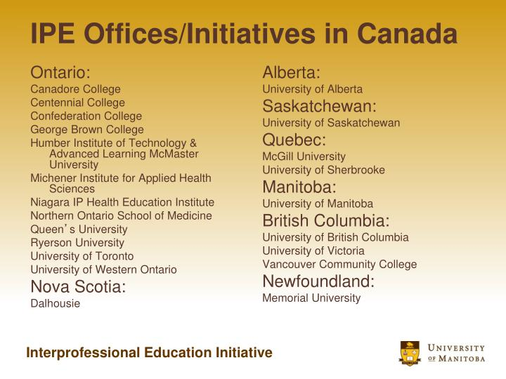 IPE Offices/Initiatives in Canada