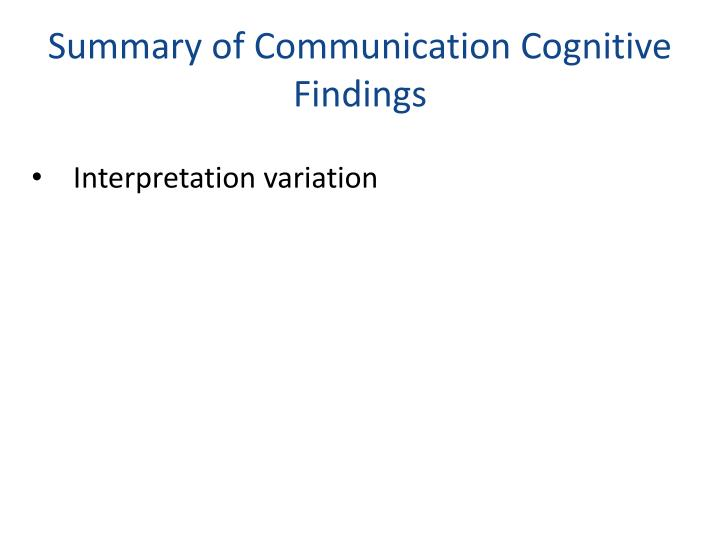 Summary of Communication Cognitive Findings
