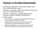 factions in the new government